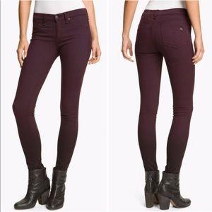 Rag & Bone Burgundy Legging Zipper Skinny Jeans
